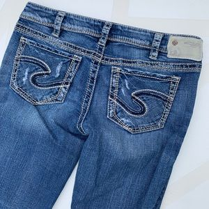 Silver Jeans Jeans - Silver Aiko Distressed Low Rise Bootcut Jeans 30